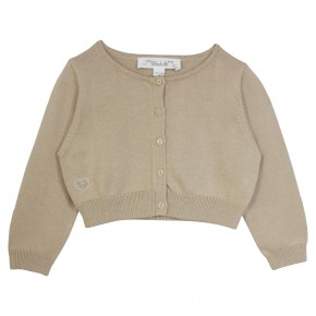 Girl cropped cardigan in Champagne