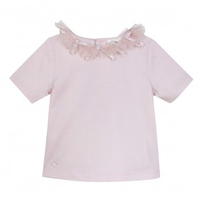 Girls Pink Top with tulle collar