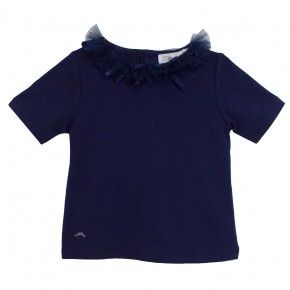 Girls Navy Top with tulle collar