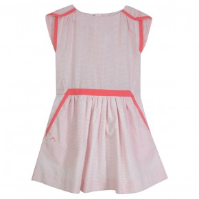 Robe Fille à rayures corail