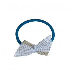 Hair Elastic with contrasted bow turquoise