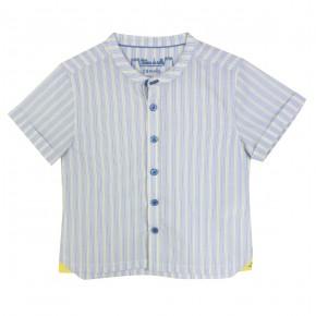 Chemise à rayures jaunes et bleues