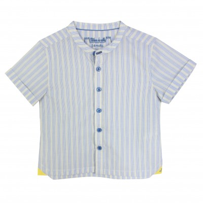 Boy Shirt with Yellow and Blue Stripes