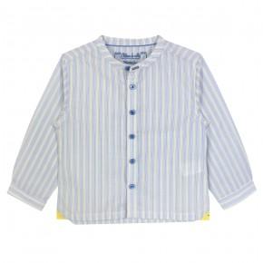 Chemise manches longues à rayures jaunes et bleues