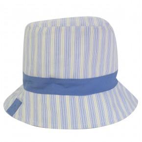 Chapeau bébé à rayures jaunes et bleues