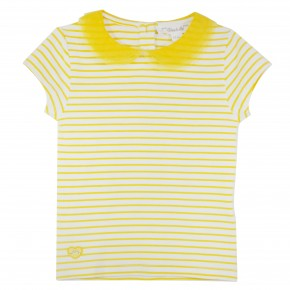 Girl T-Shirt with Yellow Stripes