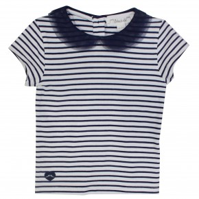 Girl T-Shirt with Navy Stripes