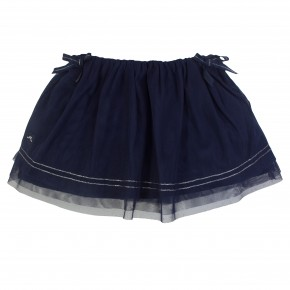 Girl Skirt in Navy Mesh