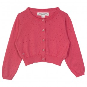 Girl Cropped Cardigan in Coral
