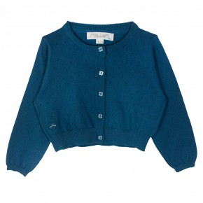 Girl Cropped Cardigan in Turquoise
