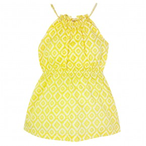 Girl Diamond Prints Sundress in Yellow