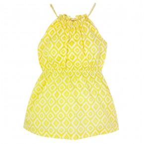 Girl Diamond Prints Sundress in Yellow