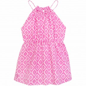 Girl Diamond Prints Sundress in Fuchsia