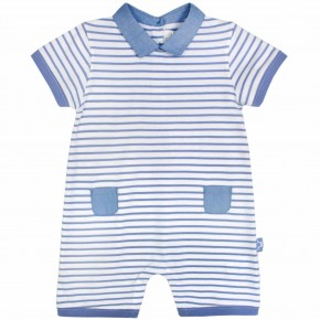 Baby Boy Stripes Romper in Blue
