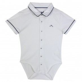 Baby Boy Bodysuit with Navy Piping
