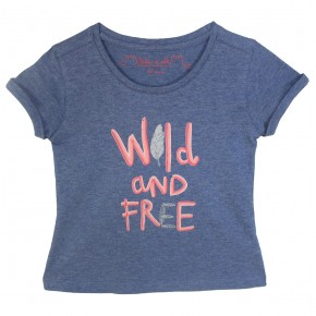 Girl Printed T-shirt in Indigo