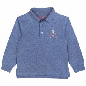 Boy Printed Polo Shirt in Indigo