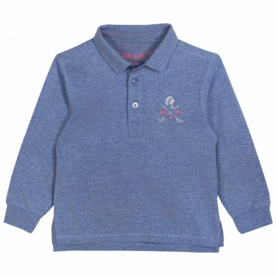 Boy Printed Polo Shirt in Indigo