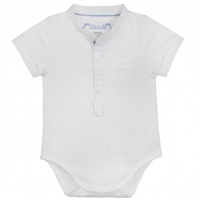 Baby Boy Mao Collar Bodysuit in White