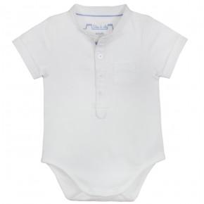 Baby Boy Mao Collar Bodysuit in White
