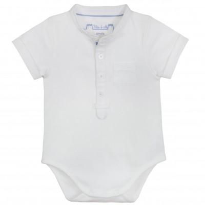 40dc3ccaa Baby Boy Mao Collar Bodysuit in White