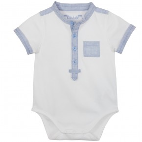 Baby Boy Mao Collar Bodysuit in Blue