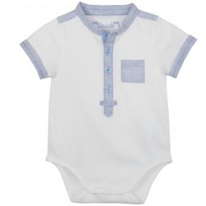 Baby Boy Mao Collar Bodysuit in Blue