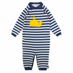 Navy stripes with whale print Rompersuit