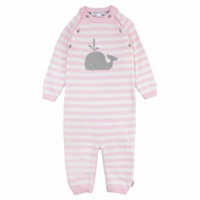 Pink stripes with whale print Rompersuit