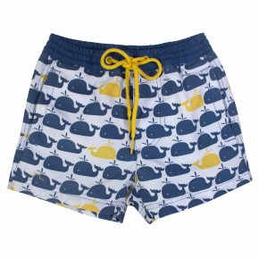 Boys beach shorts with whale print