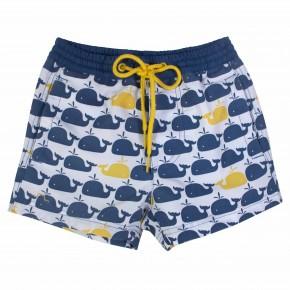 Boys beach shorts with whale print