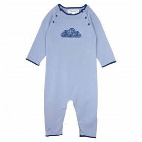 Barboteuse bleue avec nuages brodés