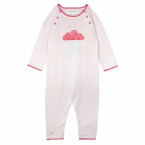 Baby girl rompersuit with clouds embroidery