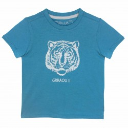 Boys Tiger print Blue Tee