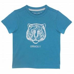 T-shirt Garçon Bleu avec Imprimé Tigre