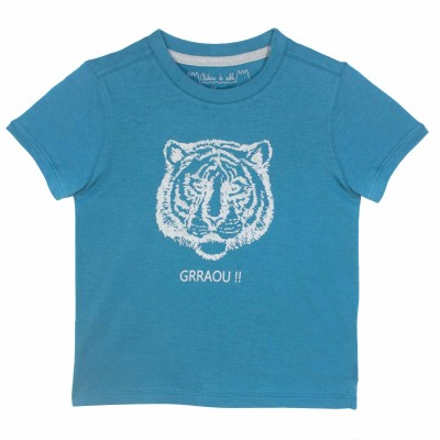 Boys Tiger print Blue Tees