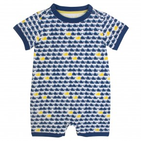 Baby Boy Rompersuit Navy Whale Prints