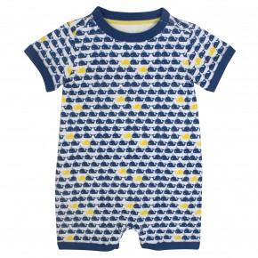 Baby Boy Romper Suit Navy Blue Whale print