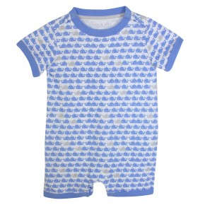 Baby Boy Rompersuit Light Blue Whale Print