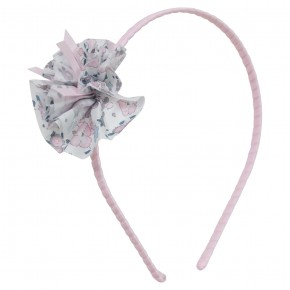 Girls Pink Hairband with Liberty pompom