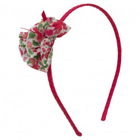 Girls Red Hairband with Liberty pompom