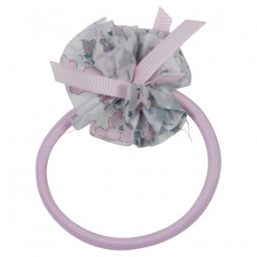 Girls Pink Hair elastic with liberty pompom