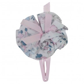 Girls Pink Hair clip with liberty pompom