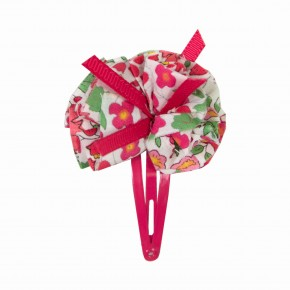Girls Red Hair clip with liberty pompom