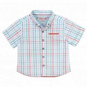 Boy contrasting Turquoise & Orange check shirt