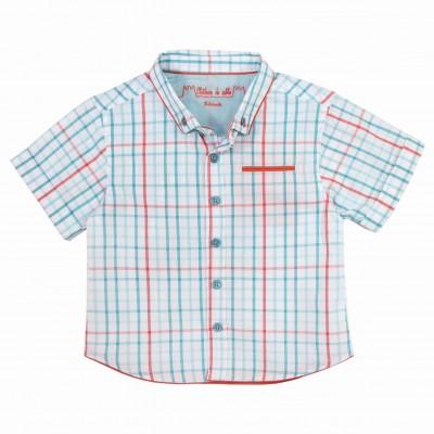 Boy contrasting Turquoise & Orange check shirt