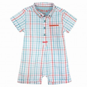 Baby Boy Turquoise & Orange Checks romper