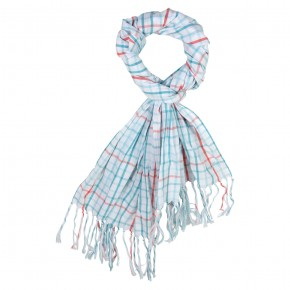 Scarf in Turquoise & Orange Checks