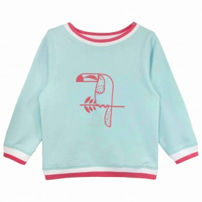 Girls Toucan Print Aqua Sweatshirt