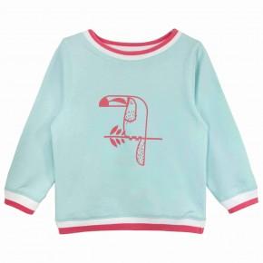 Girls Toucan Print Aqua Sweatshirt